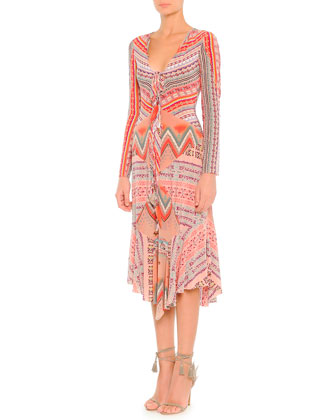 Long-Sleeve Ribbon Printed Silk Dress