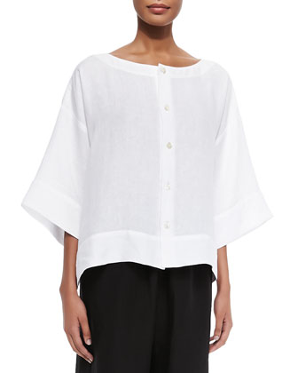 3/4-Width Scoop-Neck Linen Tunic & Flared Cropped Trousers