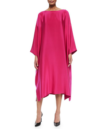 Bateau-Neck Silk Tunic Dress