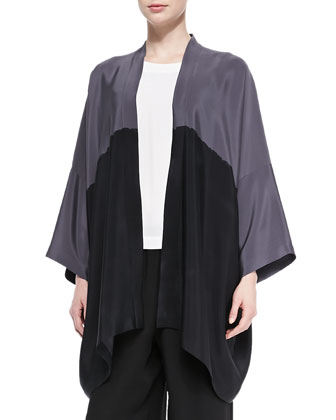 Open-Front Colorblock Silk Jacket