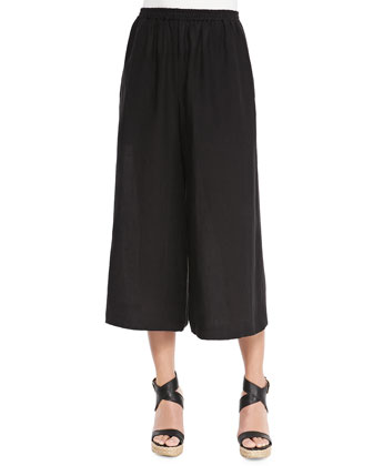 Flared Cropped Linen Trousers, Black