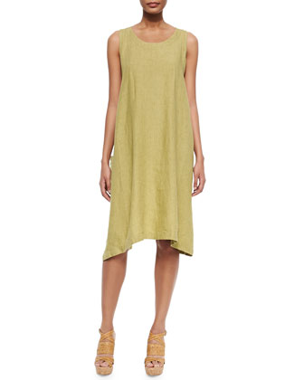 Side-Pleat Linen Sleeveless Dress, Chartreuse