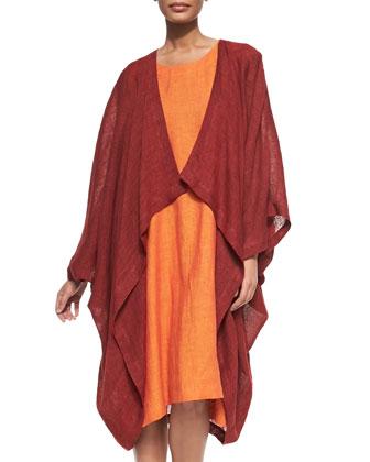 Open-Front Linen Cocoon Coat
