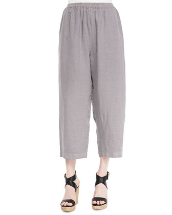 Linen Japanese Trousers, Pewter