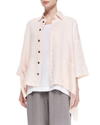 3/4-Sleeve Linen Shirt Jacket, Sleeveless A-Line Shell, Six-Strand Necklace ...