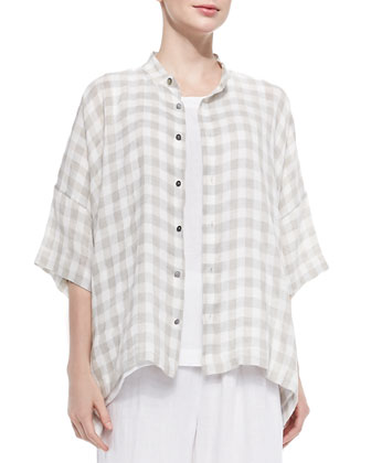 Collarless Check Linen-Blend Shirt, Sleeveless A-Line Shell, Coco Rajado ...
