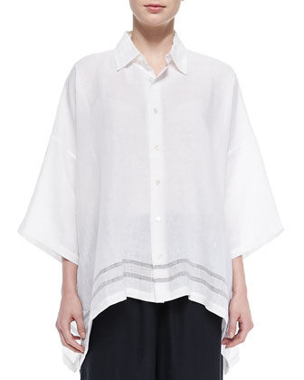 Stripe-Hem Linen Shirt