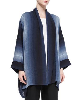 Wide Scrunch-Collar Shawl Jacket