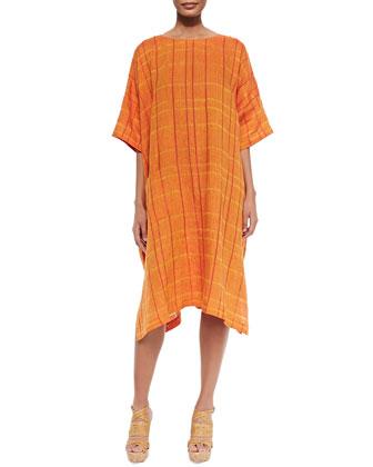 Check Linen T-Shirt Tunic Dress