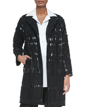 Plaid-Embroidered Long Coat, Black