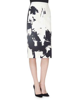 Splatter Brushstroke-Print Skirt, Black/White
