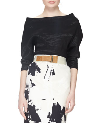 Structured Bateau-Neck Top, Splatter Brushstroke-Print Skirt & Delave ...