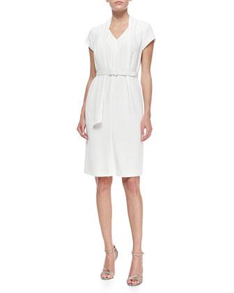 Short-Sleeve Belted Drape-Collar Dress