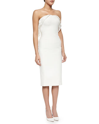 Strapless Geometric-Eyelet Draped Dress, Ivory