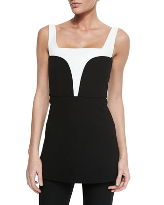 Contrast-Inset Crepe Top, Black/White