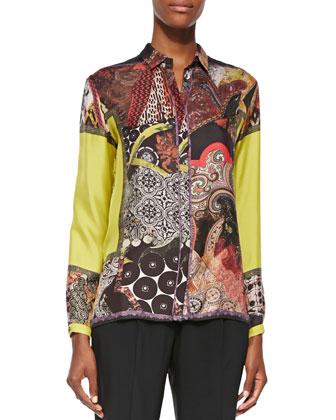 Mixed-Print Silk Blouse, Yellow