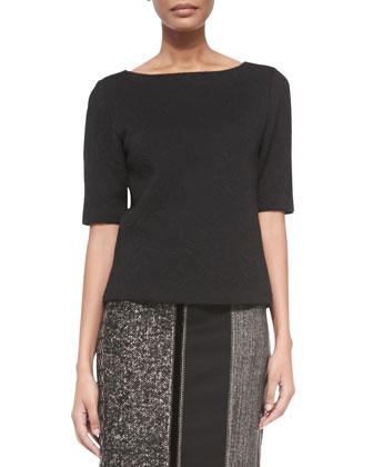 Half-Sleeve Flocked Jersey Top, Black