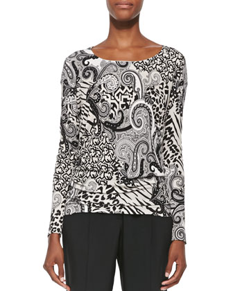 Animal Paisley-Print Jersey Top, Black/White