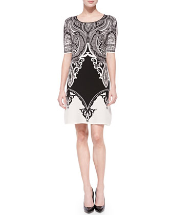 Scroll-Print Textured Knit Dress, Black/White