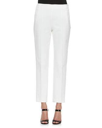 High-Waist Straight-Leg Pants, White