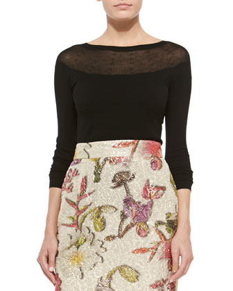 Contrast-Yoke Round-Neck Sweater & Floral-Jacquard Pencil Skirt