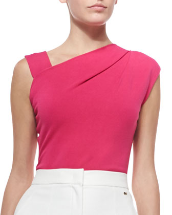 High Cross-Neck Sleeveless Shell, Orchid Pink