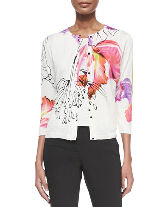 3/4-Sleeve Watercolor Floral Cardigan