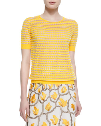 Dot-Striped Mesh T-Shirt, Sunflower