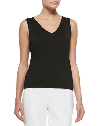 Sleeveless Knit Shell Top, Black