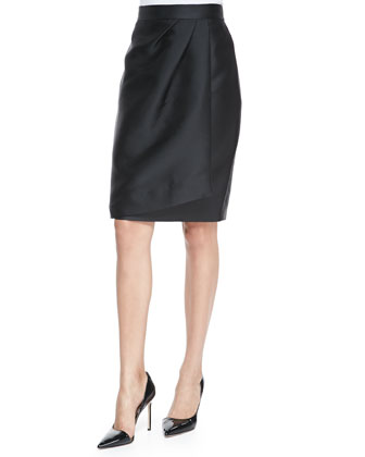 Side-Pleated Pencil Skirt