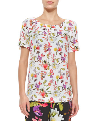 Floral Silk Pleat-Neck Tee