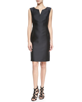 Sleeveless Seam-Detail Sheath Dress