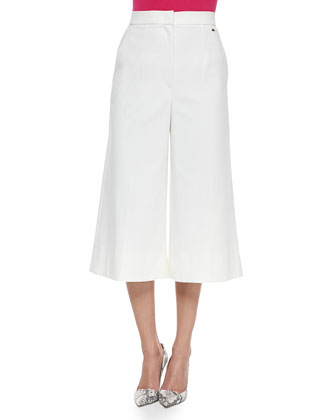 High-Waist Stretch-Cotton Gaucho Pants