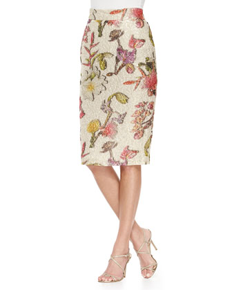 Floral-Jacquard Pencil Skirt, Open White Pattern