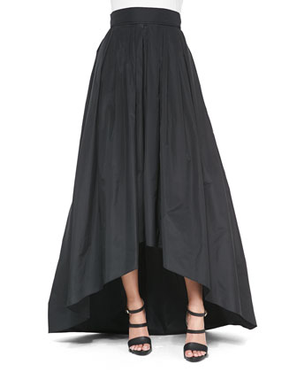 Rosette-Embroidered Sleeveless Top & High-Low Full Ball Skirt, Black
