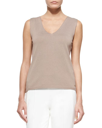 Sleeveless Knit Shell Top, Pampas