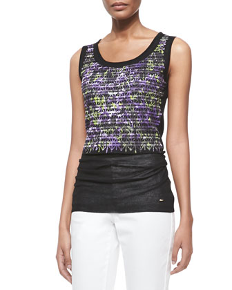 Crisscross-Print Knit Shell, Black