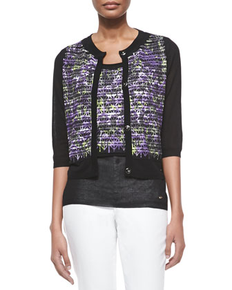 Crisscross-Print Knit Cardigan, Black