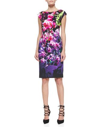 Floral Cap-Sleeve Sheath Dress