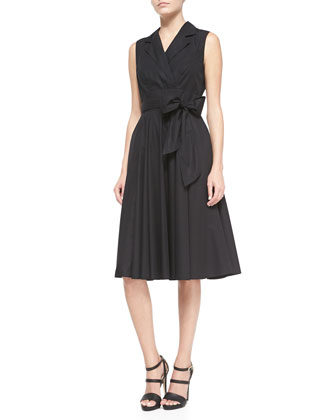 Shirtwaist Circle-Skirt Cotton Wrap Dress