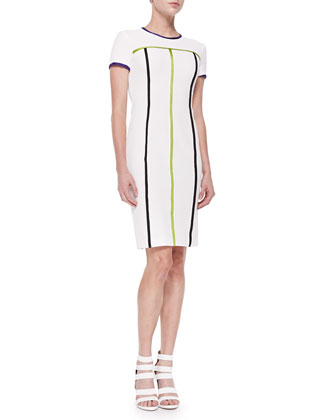 Color-Contrast Seam Sheath Dress