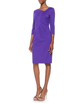 3/4-Sleeve Dress W/ Ruched Waist