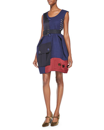 Patchwork Embroidered Dual Color Dress, Navy/Red