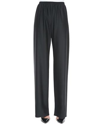Bias Smocked Pull-On Pants, Black