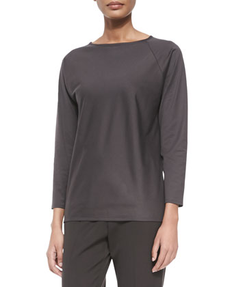 Long-Sleeve Jersey Spiral Tunic T-Shirt, Pumice