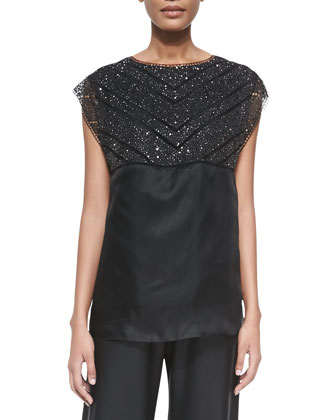 Beaded Crochet Overlay Top, Black