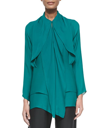 Draped Paneled Charmeuse Tunic Top, Teal