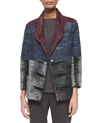 Colorblock Crinkled Velvet Jacket