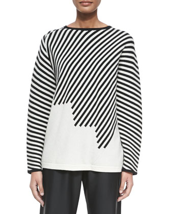 Cashmere Stair-Step Striped Reversible Sweater, Black/White