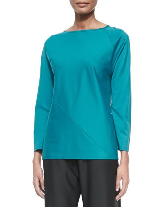 Long-Sleeve Jersey Spiral Tunic T-Shirt, Teal